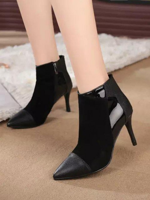 Women's Suede Pointed Toe Stiletto Heel Ankle Boots