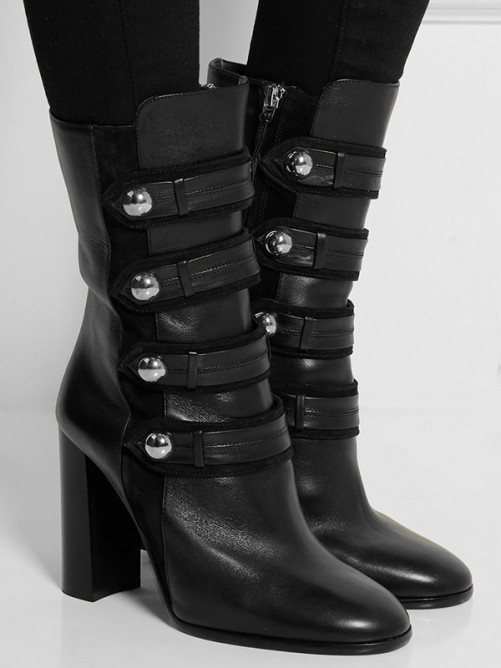 Women's Closed Toe Cattlehide Leather Chunky Heel Mid-Calf Boots