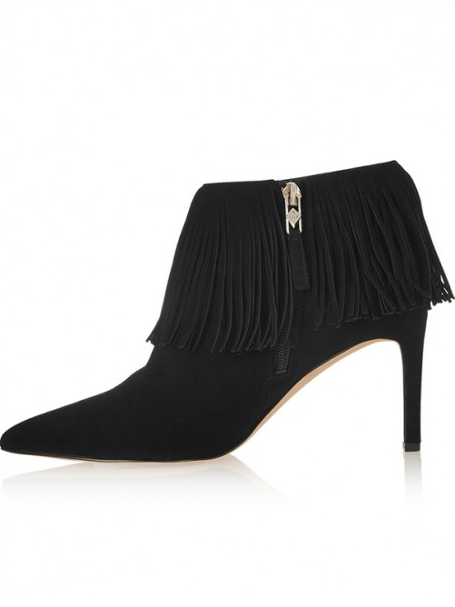 Women's Flock Pointed Toe Stiletto Heel with Tassel Ankle Boots