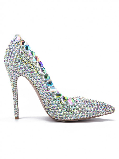 Women's Pointed Toe Patent Leather with Rhinestone Stiletto Heel Shoes