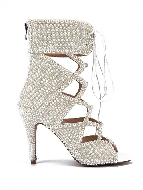 Women's Peep Toe Patent Leather Stiletto Heel with Hollow-out Sandals Boots