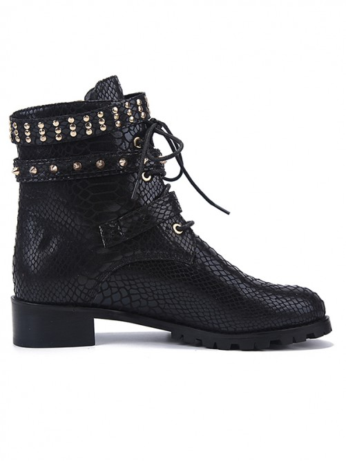 Women's Cattlehide Leather Closed Toe with Lace-up Kitten Heel Boots