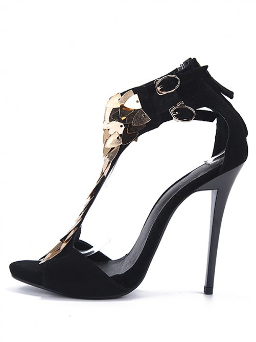 Women's Flock Peep Toe Sandals High Heels