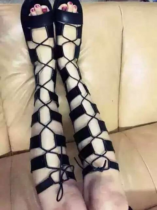 Suede Sandal Knee High Boots S5LSDN52502LF
