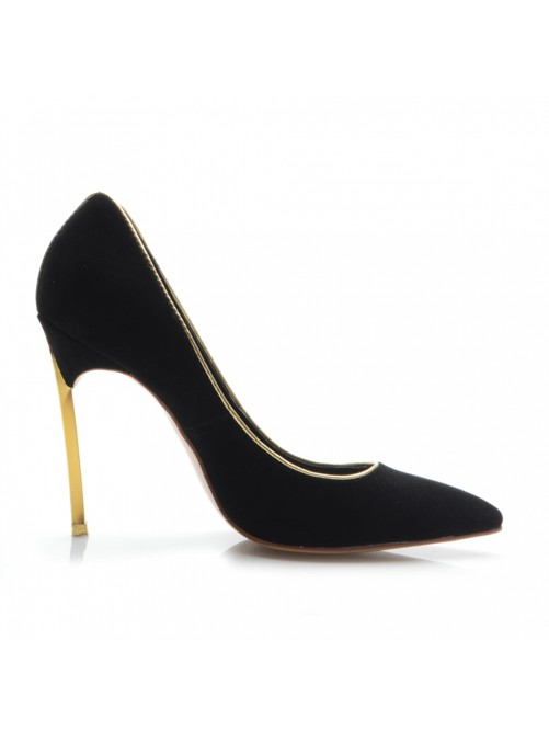 Black Suede Heel Evening Shoes S5MA04161LF