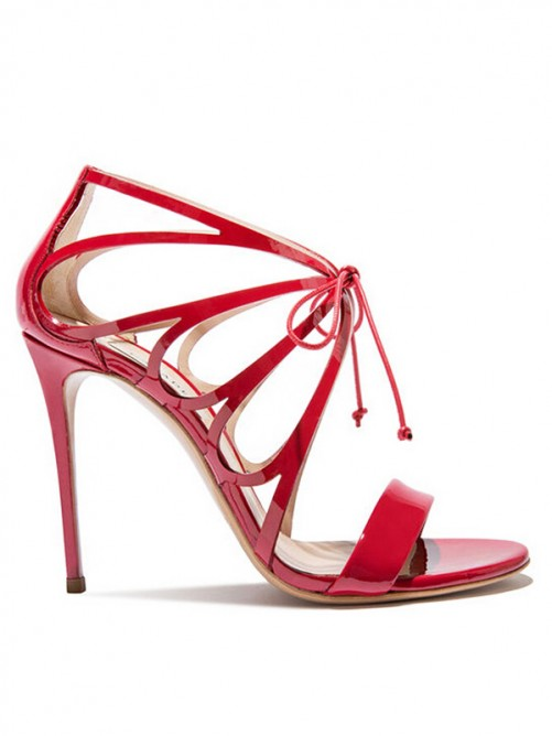 Women's Patent Leather Peep Toe Stiletto Heel Sandals