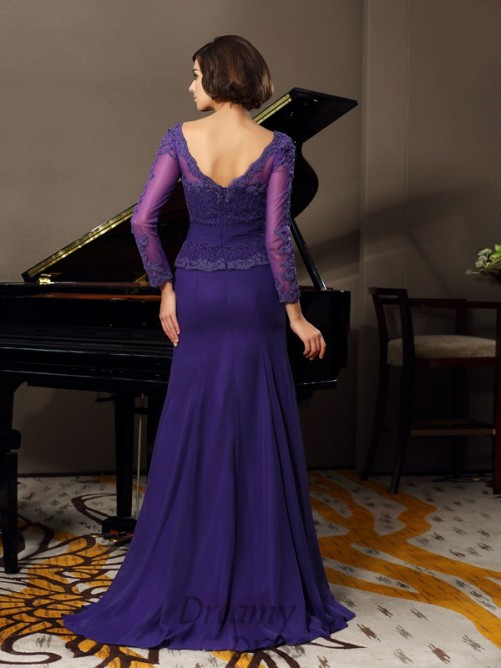 Scoop 3/4 Sleeves Chiffon Floor-Length Mother of the Bride Dress