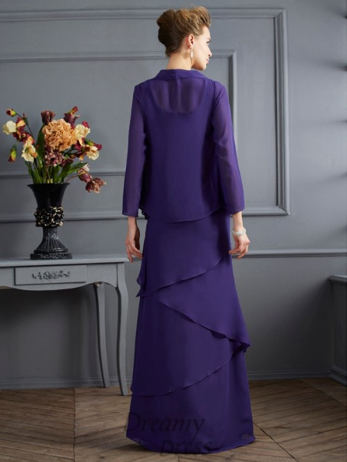 Scoop Floor-Length Chiffon Mother Of The Bride Dress