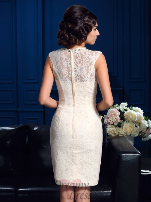 Sheath/Column Jewel Short Lace Mother Of The Bride Dress