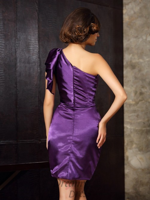 Sheath/Column One-Shoulder Knee-Length Elastic Woven Satin Mother of the Bride Dress
