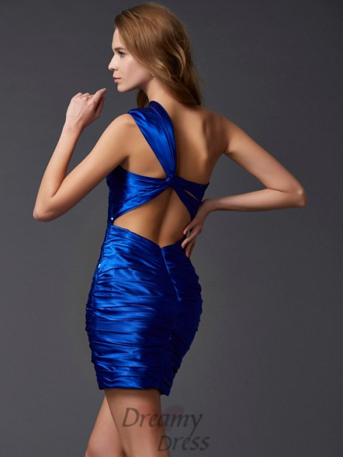 Sheath/Column Short/Mini One-Shoulder Homecoming Dress