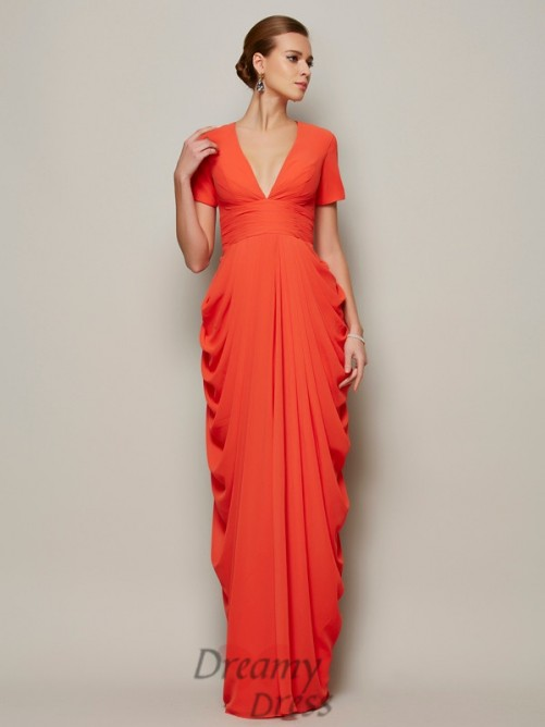 Sheath/Column Short Sleeves V-neck Pleats Floor-length Chiffon Dress