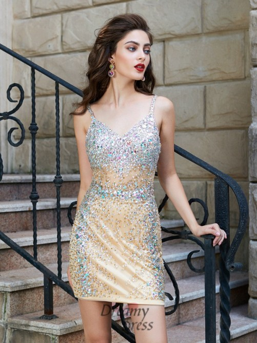 Sheath/Column Spaghetti Straps Net Sleeveless Short Dress with Sequin