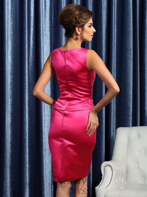 Sheath/Column Square Knee-Length Satin Mother of the Bride Dress