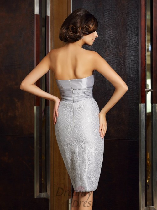 Sheath/Column Taffeta Strapless Knee-Length Mother of the Bride Dress