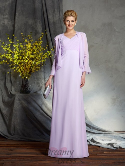 Sheath/Column V-neck Chiffon Long Mother of the Bride Dress