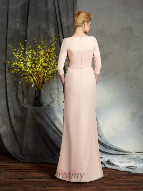 Sheath/Column V-neck Hand-Made Flower Chiffon Long Mother of the Bride Dress
