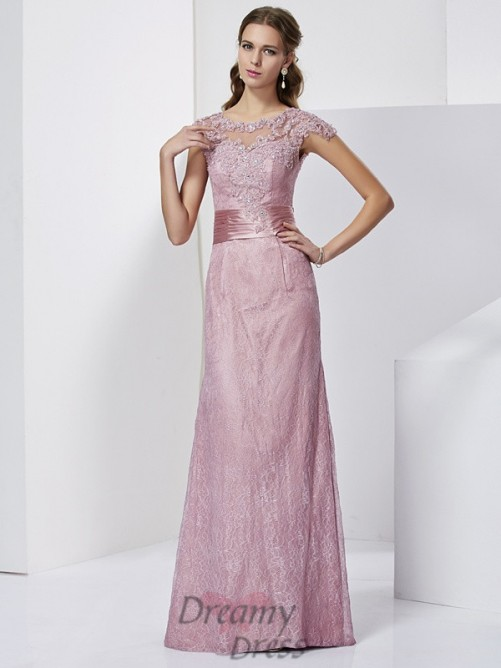 Short Sleeves Floor-Length Elastic Woven Satin Mother of the Bride Dress