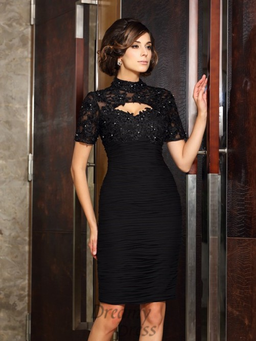 Short Sleeves High Neck Knee-Length Chiffon Mother of the Bride Dress