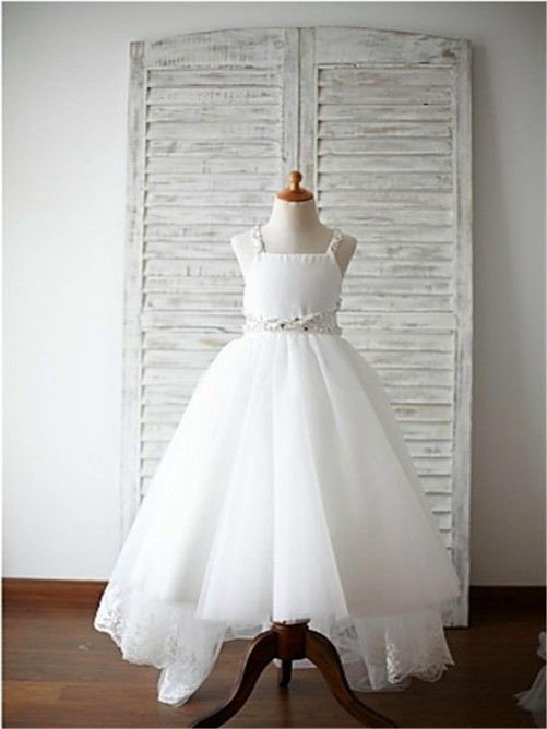 Spaghetti Straps Sweep/Brush Train Organza Flower Girl Dress