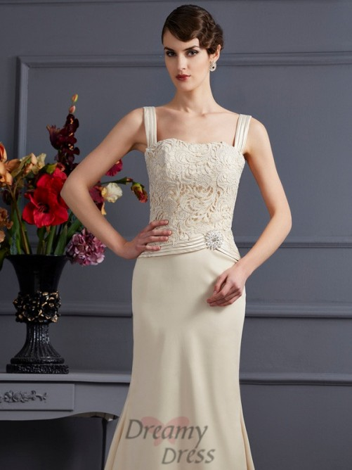 Square Floor-Length Elastic Woven Satin Mother Of The Bride Dress