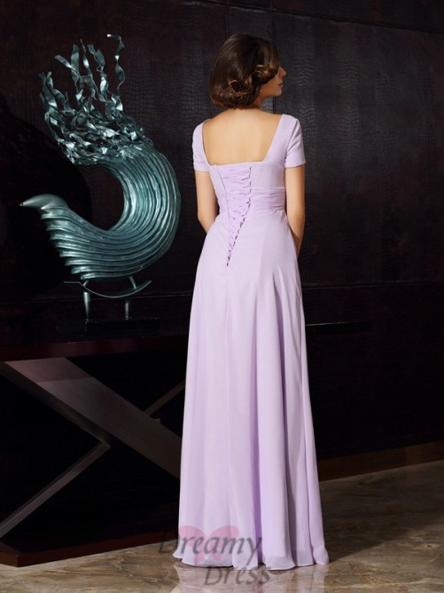 Square Short Sleeves Chiffon Floor-Length Dress