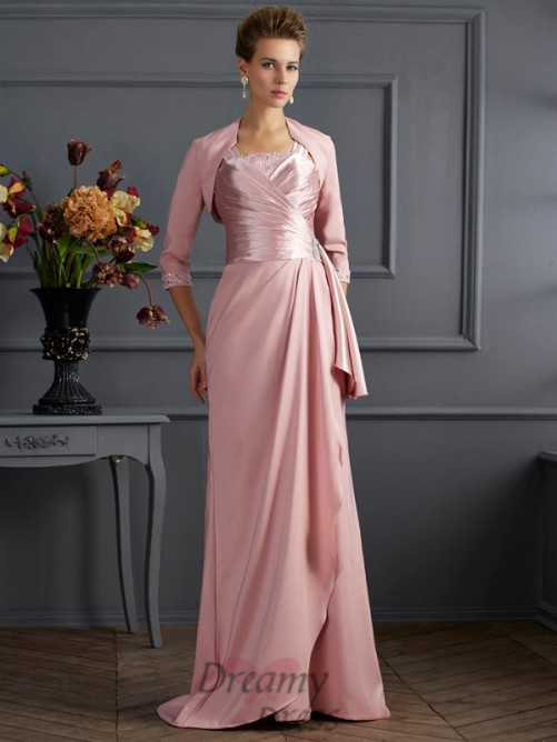 Straps Sweep/Brush Train Elastic Woven Satin Mother of the Bride Dress