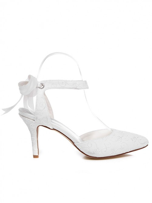 Women's Spool Heel Satin Closed Toe With Bowknot Wedding Shoes