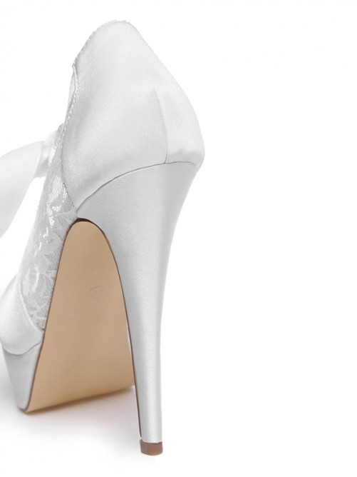 Women's Satin Platform Stiletto Heel Peep Toe With Bowknot Wedding Shoes