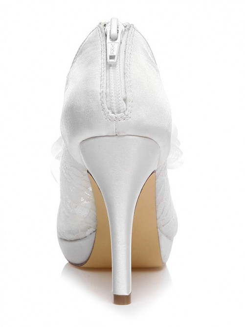 Women's Spool Heel Peep Toe Satin With Flower Wedding Shoes