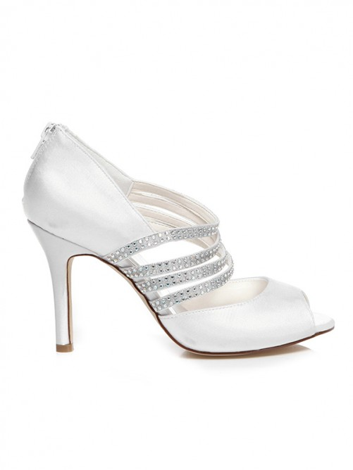 Women's Spool Heel Satin Peep Toe With Rhinestone Wedding Shoes