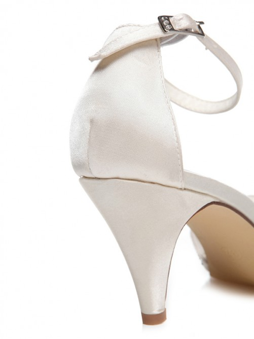 Women's Cone Heel Satin Closed Toe With Beading Wedding Shoes