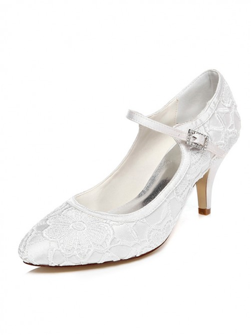 Women's Satin Spool Heel Closed Toe With Buckle Wedding Shoes