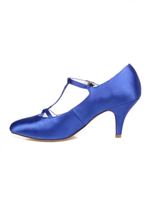 Women's Satin Spool Heel Closed Toe With T-Strap Wedding Shoes