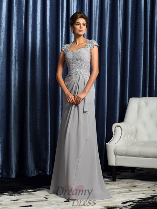 Sweetheart Short Sleeves Sweep/Brush Train Chiffon Mother of the Bride Dress