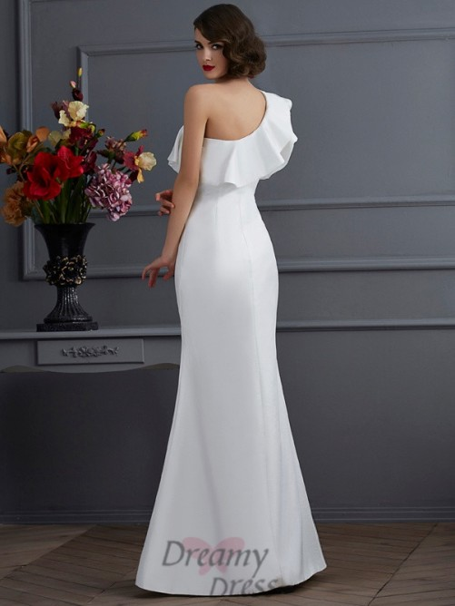 Trumpet/Mermaid One-Shoulder Taffeta Floor-Length Dress