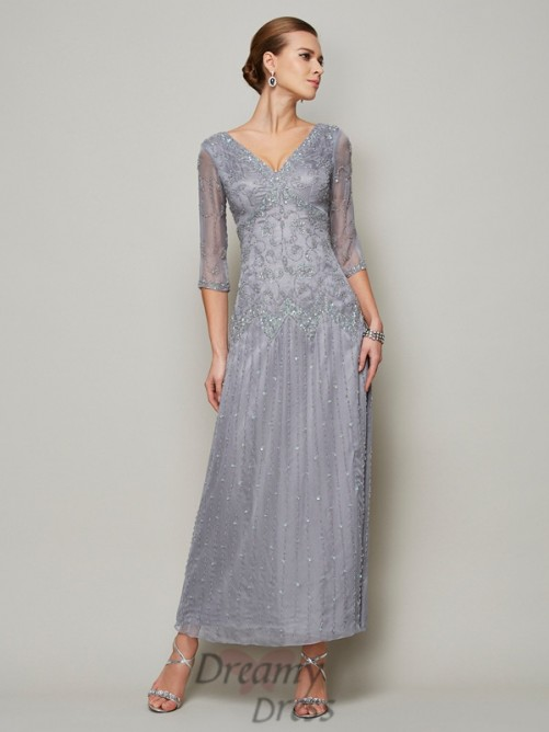 V-neck 1/2 Sleeves Ankle Elastic Woven Satin Mother of the Bride Dress