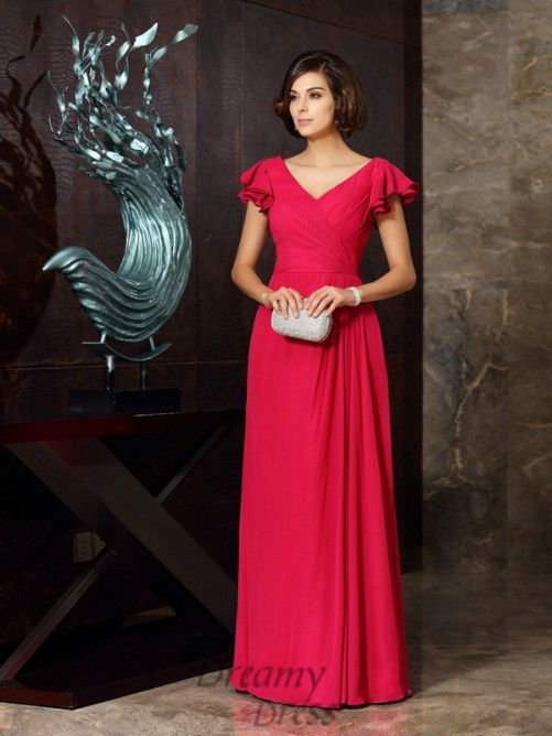 V-neck Short Sleeves Chiffon Floor-Length Dress