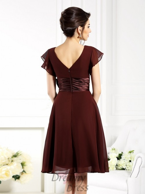 V-neck Short Sleeves Knee-Length Chiffon Bridesmaid Dress