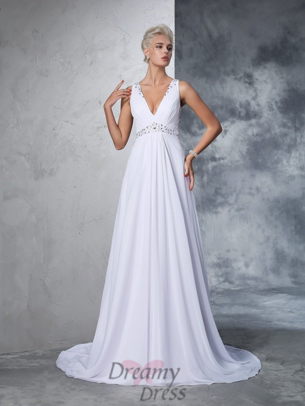 bb81ab4c73699 A-line V-neck Chiffon Cathedral Train Wedding Dress