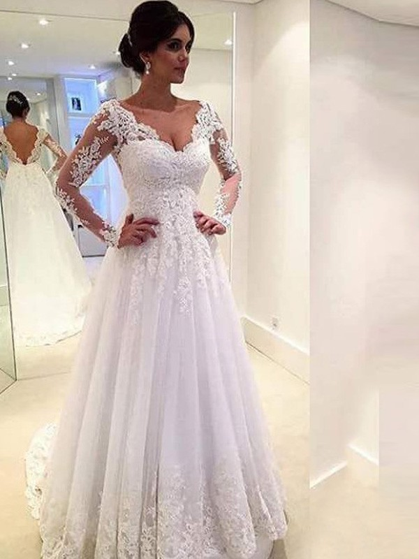 e5635b3e8a6 Ball Gown V-neck Long Sleeves Lace Sweep Brush Train Tulle Wedding Dress