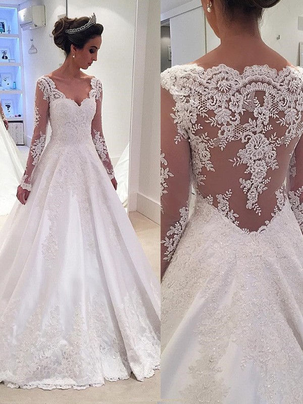 2c08af405a9 Ball Gown V-neck Long Sleeves Lace Court Train Satin Wedding Dress