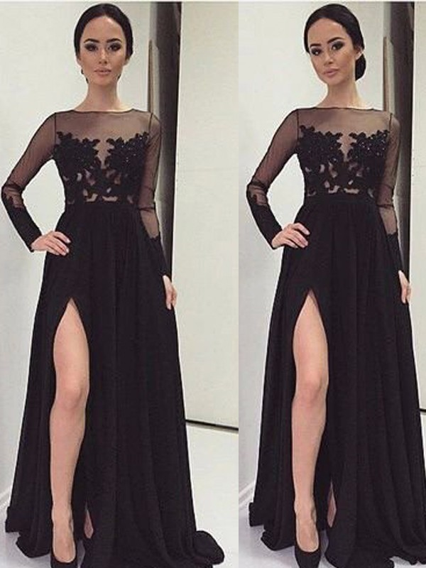 f1c63ee3ab A-Line Princess Bateau Long Sleeves Lace Floor-Length Chiffon Dresses