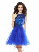 A-Line/Princess Scoop Short/Mini Net Dress