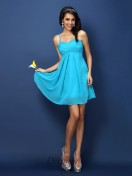 A-Line/Princess Spaghetti Straps Short/Mini Chiffon Bridesmaid Dress