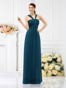 A-Line/Princess Straps Floor-Length Chiffon Bridesmaid Dress