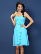 A-Line/Princess Sweetheart Knee-Length Chiffon Bridesmaid Dress