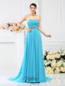 A-Line/Princess Sweetheart Sweep/Brush Train Chiffon Bridesmaid Dress