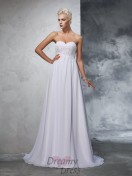 A-line Sweetheart Chiffon Sweep/Brush Train Wedding Dress