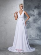 A-line V-neck Chiffon Cathedral Train Wedding Dress
